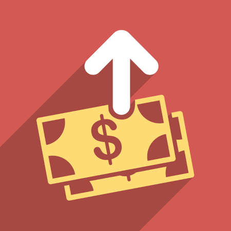 banknotes: Pay Banknotes long shadow vector icon. Style is a flat light symbol on a red square background. Illustration