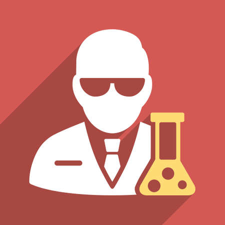 a solution tube: Scientist With Flask long shadow vector icon. Style is a flat light symbol on a red square background.