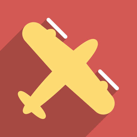 airflight: Screw Aeroplane long shadow vector icon. Style is a flat light symbol on a red square background. Illustration