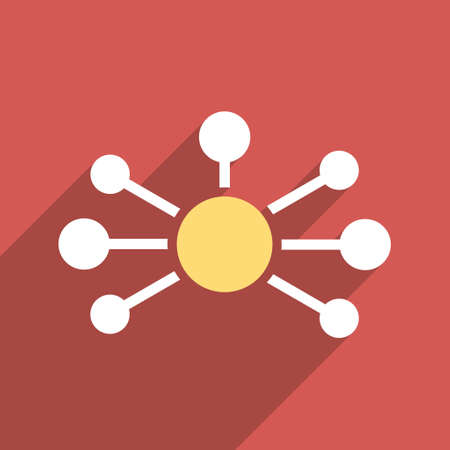 distribute: Relations long shadow vector icon. Style is a flat light symbol on a red square background.