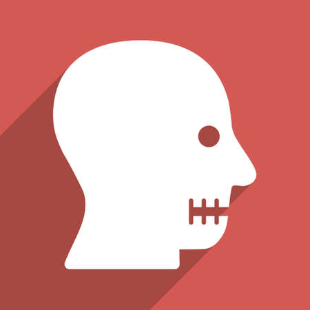 long mouth: Sewn Mouth long shadow vector icon. Style is a flat light symbol on a red square background. Illustration