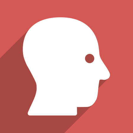 silent: Silent Head long shadow vector icon. Style is a flat light symbol on a red square background.