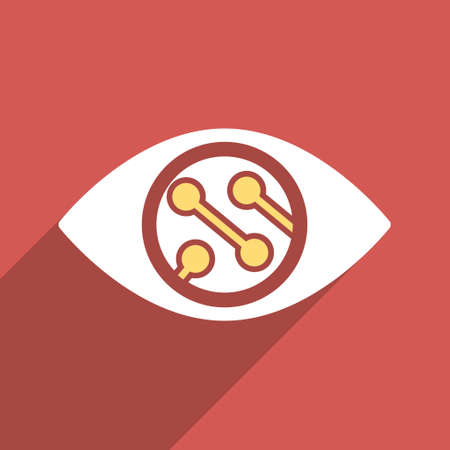 contact lens: Smart Lens long shadow vector icon. Style is a flat light symbol on a red square background. Illustration