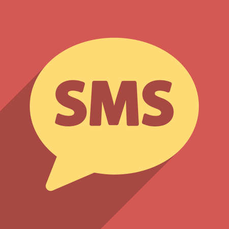 short message service: SMS Bubble long shadow vector icon. Style is a flat light symbol on a red square background. Illustration