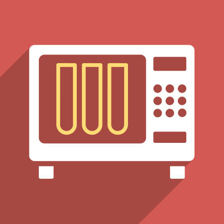 sterile: Sterilizer long shadow vector icon. Style is a flat light symbol on a red square background.