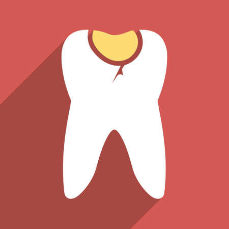 carious: Tooth Caries long shadow glyph icon. Style is a flat light symbol on a red square background.