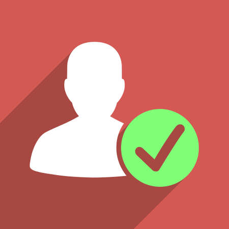 valid: Valid User long shadow glyph icon. Style is a flat light symbol on a red square background.