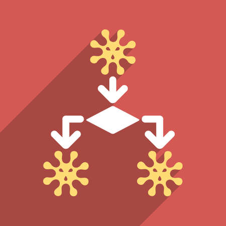 reproduction: Virus Reproduction long shadow glyph icon. Style is a flat light symbol on a red square background.