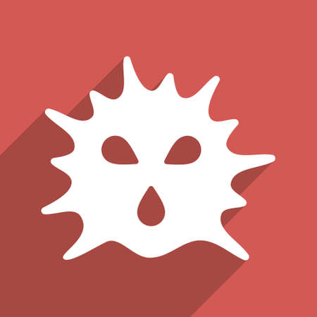 ameba: Virus Structure long shadow glyph icon. Style is a flat light symbol on a red square background.