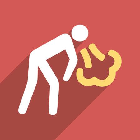 the vomiting: Vómitos persona icono glifo larga sombra. El estilo es un símbolo de luz plana sobre un fondo cuadrado rojo. Foto de archivo