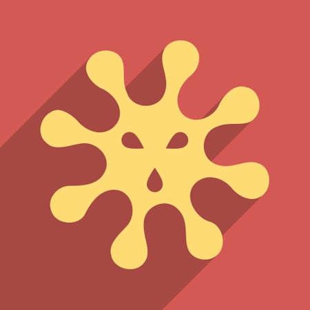 ameba: Virus long shadow vector icon. Style is a flat light symbol on a red square background.