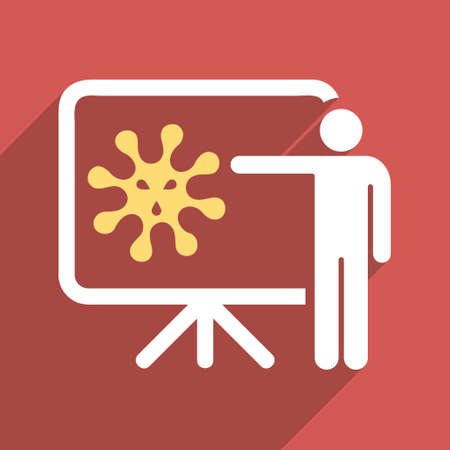 ameba: Virus Lecture long shadow vector icon. Style is a flat light symbol on a red square background.
