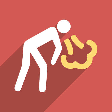 vomiting: Vomiting Person long shadow vector icon. Style is a flat light symbol on a red square background. Illustration