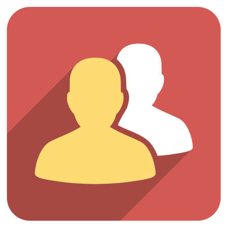 patients: Patients long shadow vector icon. Style is a flat symbol on a red rounded square button.