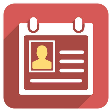 admittance: Personal Badge long shadow vector icon. Style is a flat symbol on a red rounded square button.