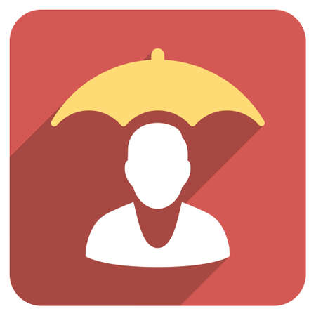 surety: Personal Insurance Protection long shadow vector icon. Style is a flat symbol on a red rounded square button.