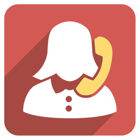 phone operator: Phone Operator long shadow vector icon. Style is a flat symbol on a red rounded square button. Illustration