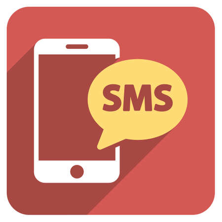 short message service: Phone SMS long shadow vector icon. Style is a flat symbol on a red rounded square button.