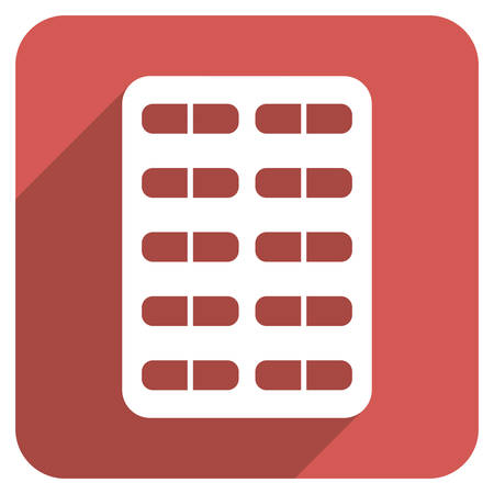 sedative: Pill Blister long shadow vector icon. Style is a flat symbol on a red rounded square button. Illustration