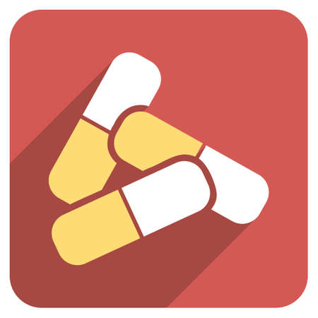 sedative: Pills long shadow vector icon. Style is a flat symbol on a red rounded square button.