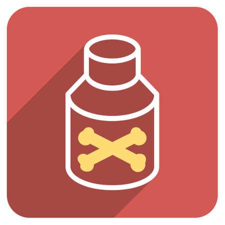 veneno frasco: Botella del veneno larga sombra del icono del vector. El estilo es un símbolo de plano sobre un botón cuadrado redondeado de color rojo.