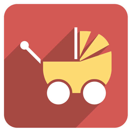 waggon: Pram long shadow vector icon. Style is a flat symbol on a red rounded square button. Illustration