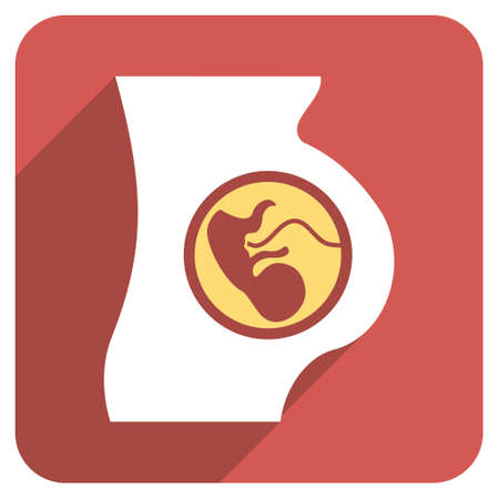 belly button: Pregnancy Anatomy long shadow vector icon. Style is a flat symbol on a red rounded square button.