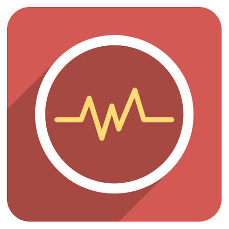 heart ekg trace: Pulse Monitoring long shadow vector icon. Style is a flat symbol on a red rounded square button. Illustration