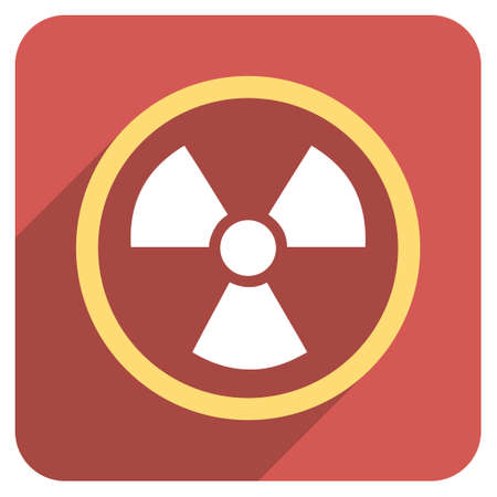 uranium: Radiation Danger long shadow vector icon. Style is a flat symbol on a red rounded square button.