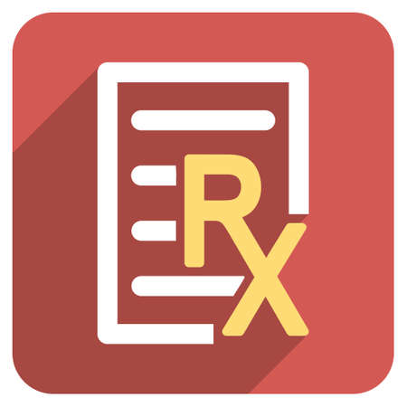 medical bills: Receipt Text long shadow vector icon. Style is a flat symbol on a red rounded square button.