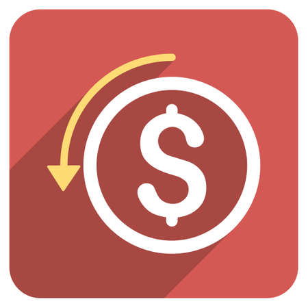 moneyback: Refund long shadow vector icon. Style is a flat symbol on a red rounded square button. Illustration