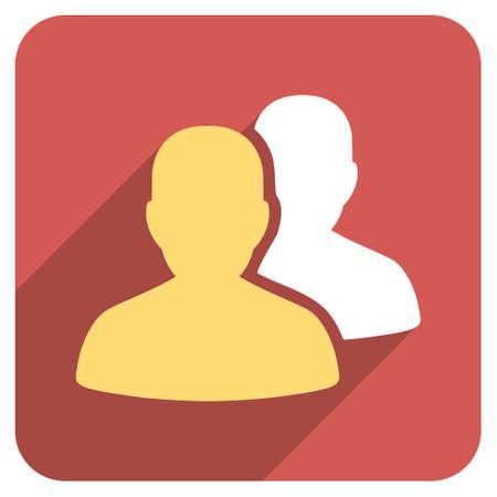 pacientes: Los pacientes larga sombra icono glifo. El estilo es un símbolo de plano sobre un botón cuadrado redondeado de color rojo.