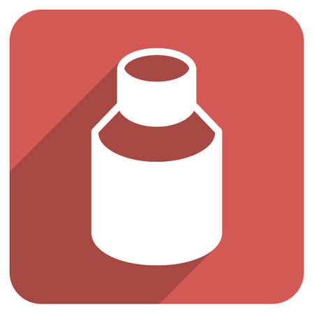phial: Phial long shadow glyph icon. Style is a flat symbol on a red rounded square button.