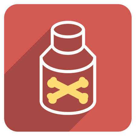 poison bottle: Poison Bottle long shadow glyph icon. Style is a flat symbol on a red rounded square button.
