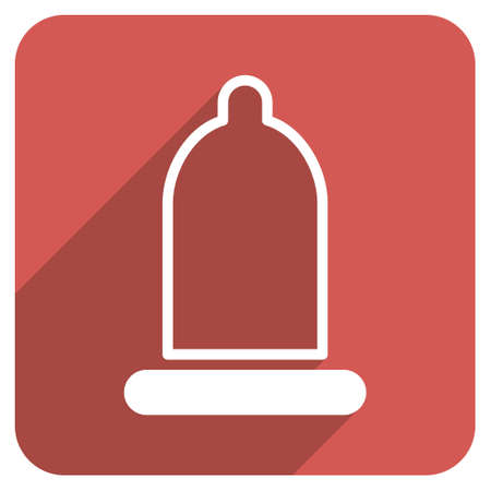 red condom: Preservative long shadow glyph icon. Style is a flat symbol on a red rounded square button.