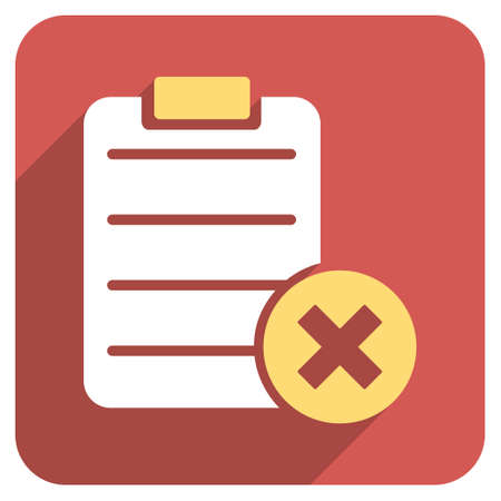 item list: Reject Form long shadow glyph icon. Style is a flat symbol on a red rounded square button.