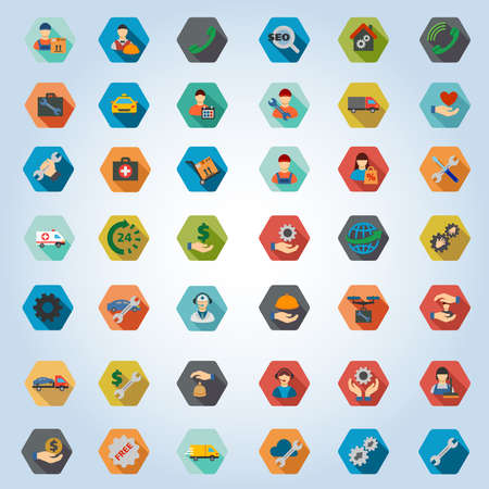 car care center: Service vector icon set. Style is flat hexagon buttons with long shadow.