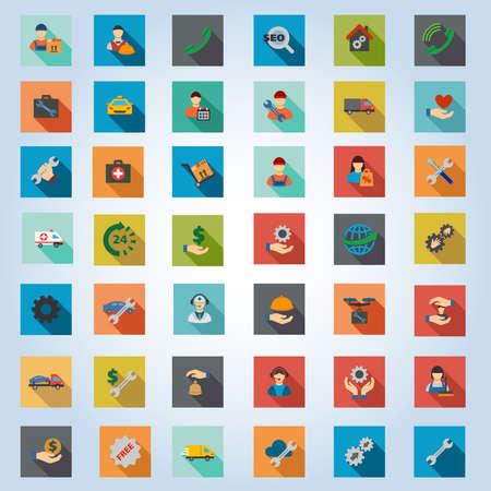 Conjunto de servicios de icono de vector. El estilo es botones planos cuadrados con larga sombra.