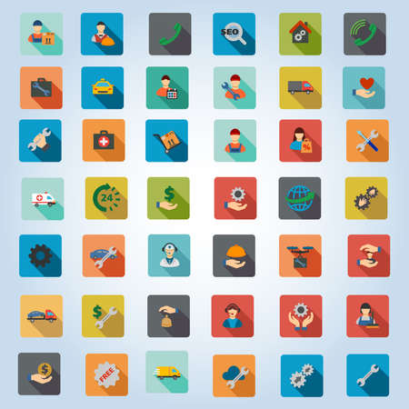 car care center: Service glyph icon set. Style is flat rounded square buttons with long shadow. Stock Photo