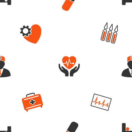 pulsating: Cardiology vector repeatable pattern. Style is flat symbols on a white background.