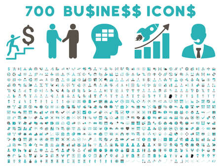 cyan business: 700 Business vector icons. Style is bicolor grey and cyan flat symbols on a white background.