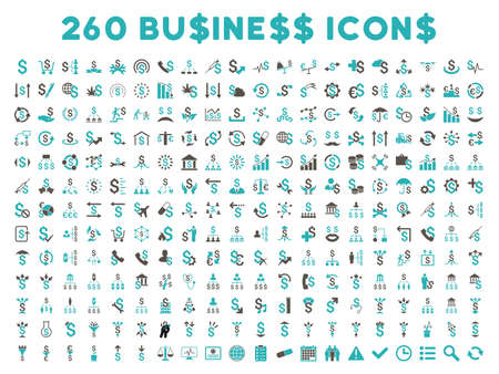 cyan business: 260 Business glyph icons. Style is bicolor grey and cyan flat symbols on a white background.
