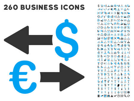 Euro Dollar Transactions icon within 260 vector business pictogram set. Style is bicolor flat symbols, light blue and gray colors, white background. Ilustracja