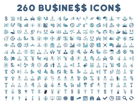 cyan business: 260 Business vector icons. Style is bicolor cyan and blue flat symbols on a white background. Illustration