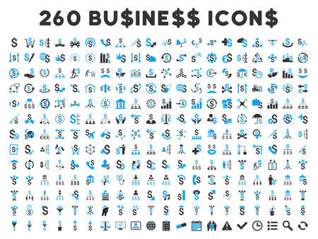 featured: 260 Business vector icons. Style is bicolor blue and gray flat symbols on a white background.