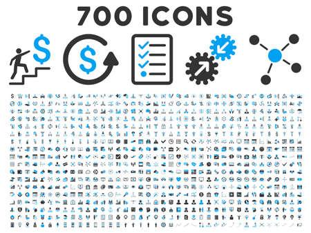 700 Business-Vektor-Icons. Style ist bicolor blau und grau flache Symbole auf einem weißen Hintergrund. Vektorgrafik