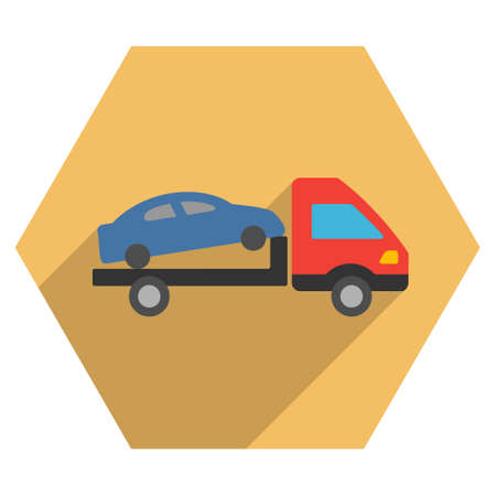 evacuation: Car Evacuation long shadow vector icon. Style is a flat symbol on a colored hexagon button with longshadow. Illustration