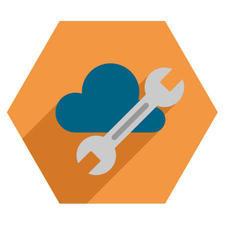 saas: Cloud Tools long shadow vector icon. Style is a flat symbol on a colored hexagon button with longshadow.