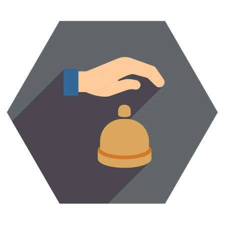 hotel lobby: Reception Call Bell long shadow vector icon. Style is a flat symbol on a colored hexagon button with longshadow.