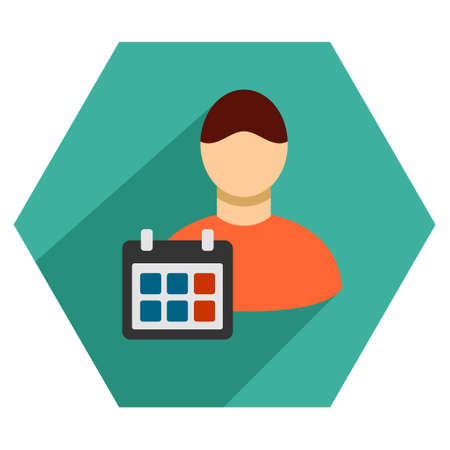 time account: Staff Schedule long shadow vector icon. Style is a flat symbol on a colored hexagon button with longshadow. Illustration